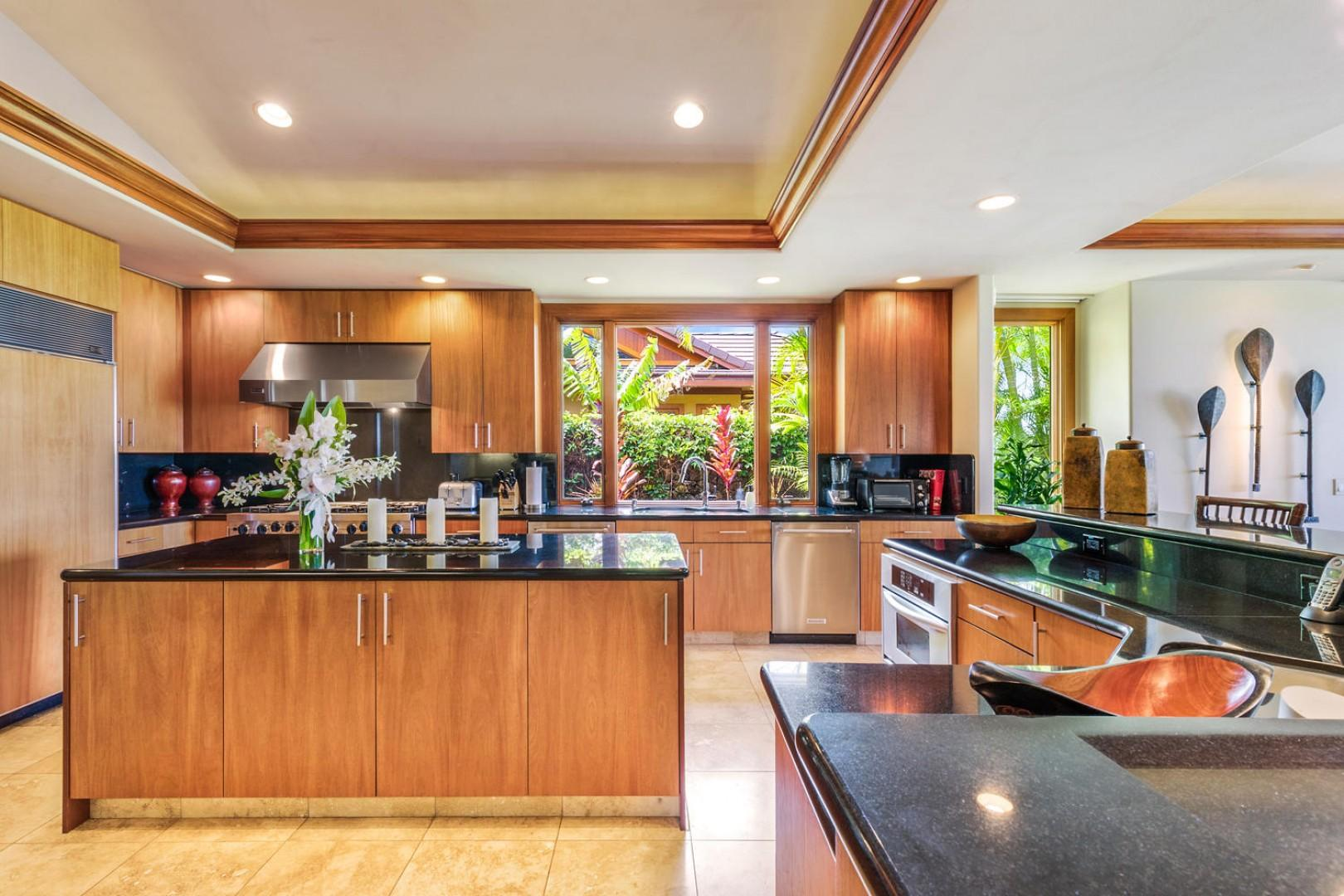 Gleaming modern gourmet kitchen with black granite and top tier appliances.