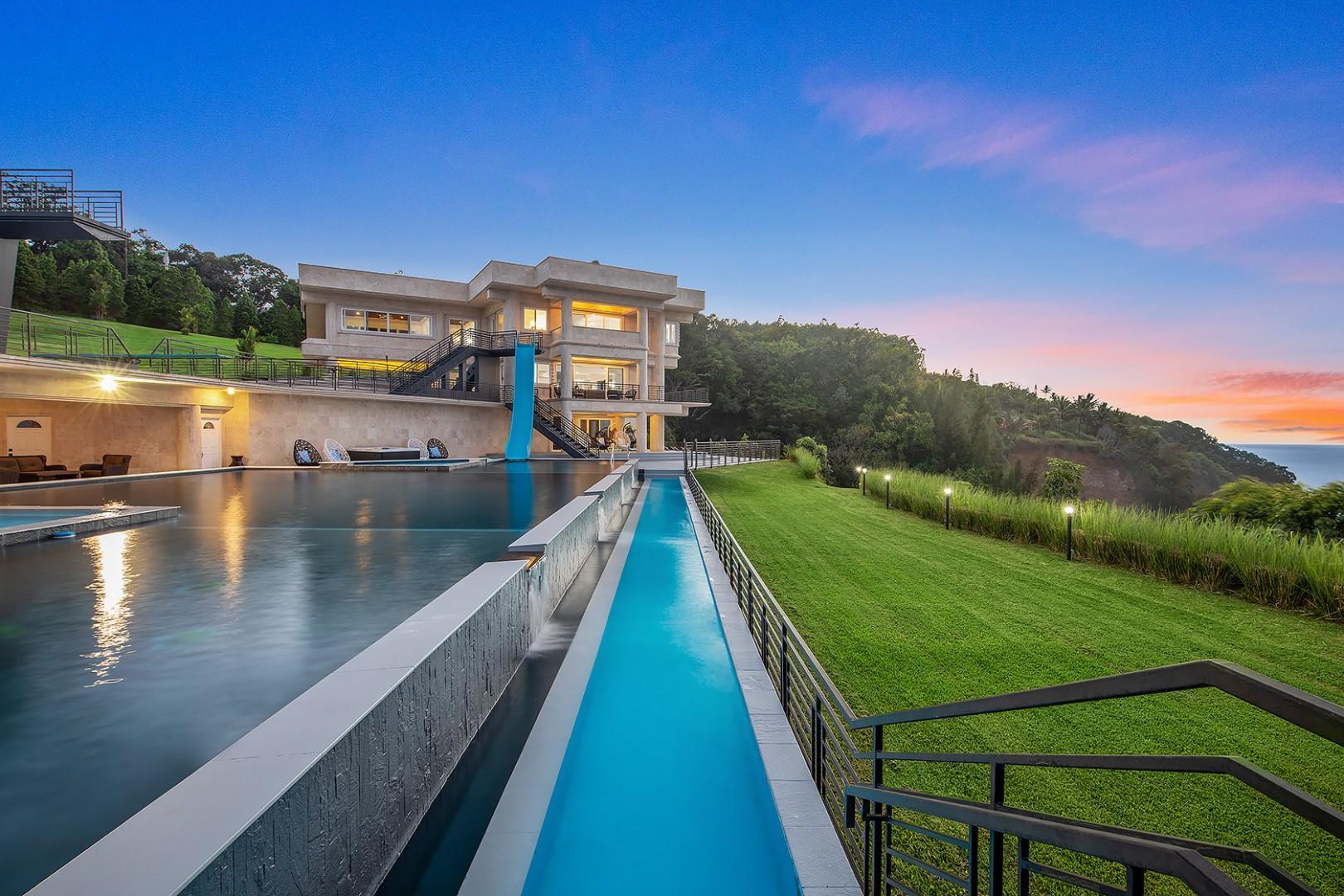 Waterfalling Estate at Sunset