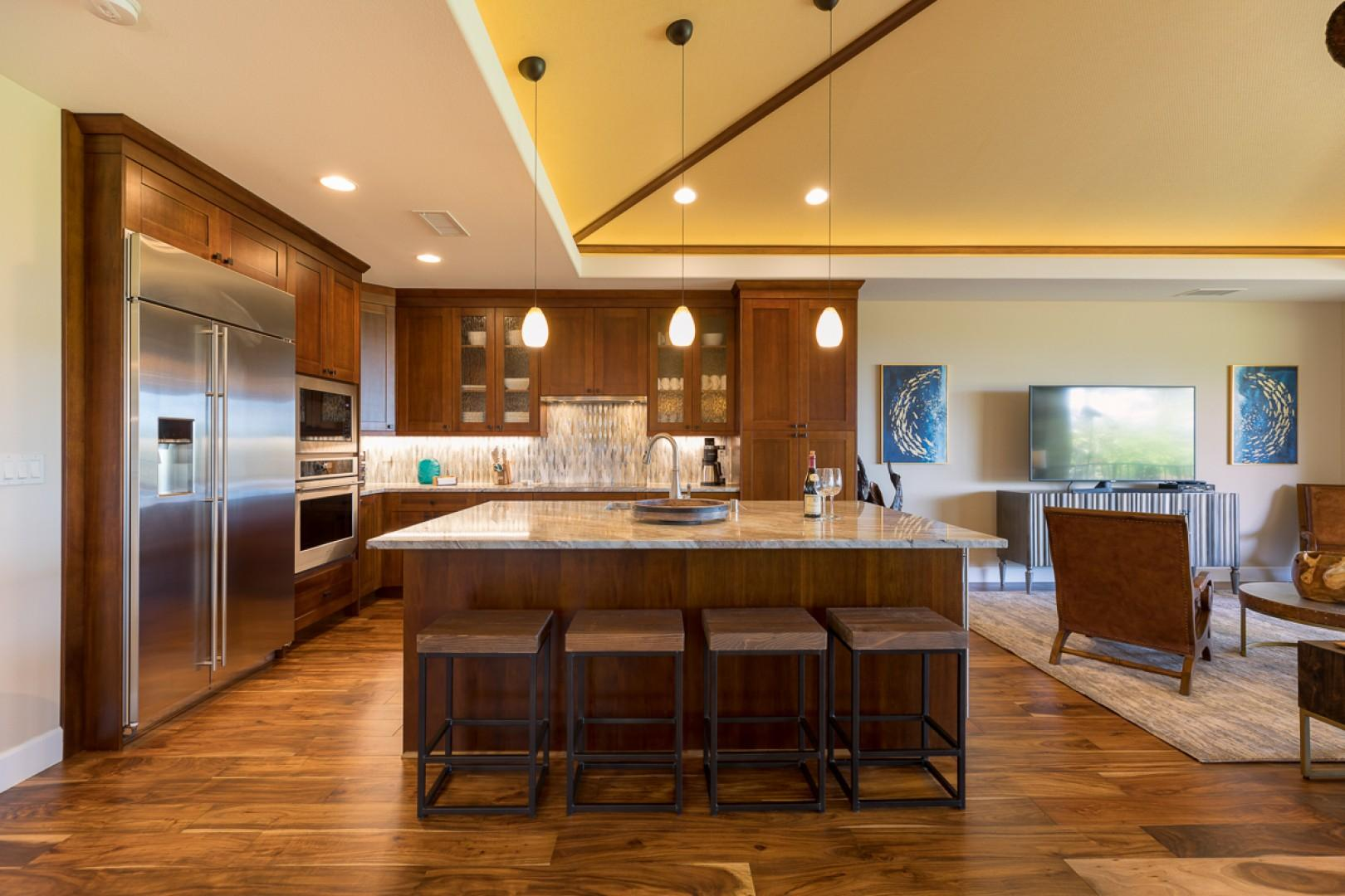 Kitchen and island for entertaining