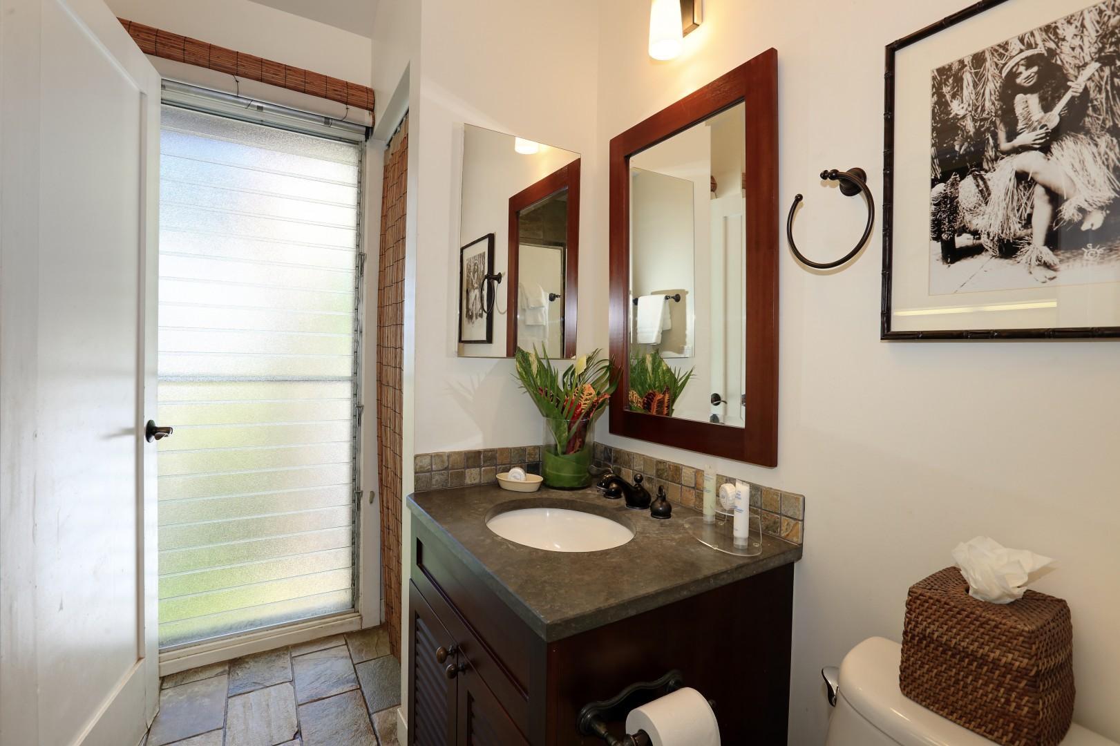Lots of natural light in this Hawaiiana charmed bathroom