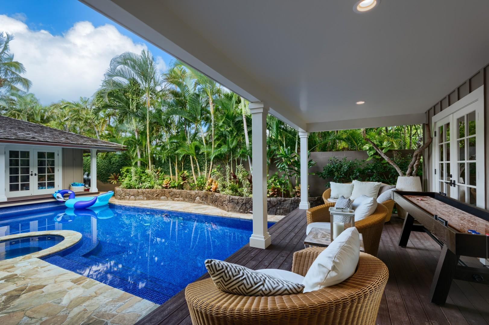 Your private pool, complete with a shuffle board for ultimate entertainment!