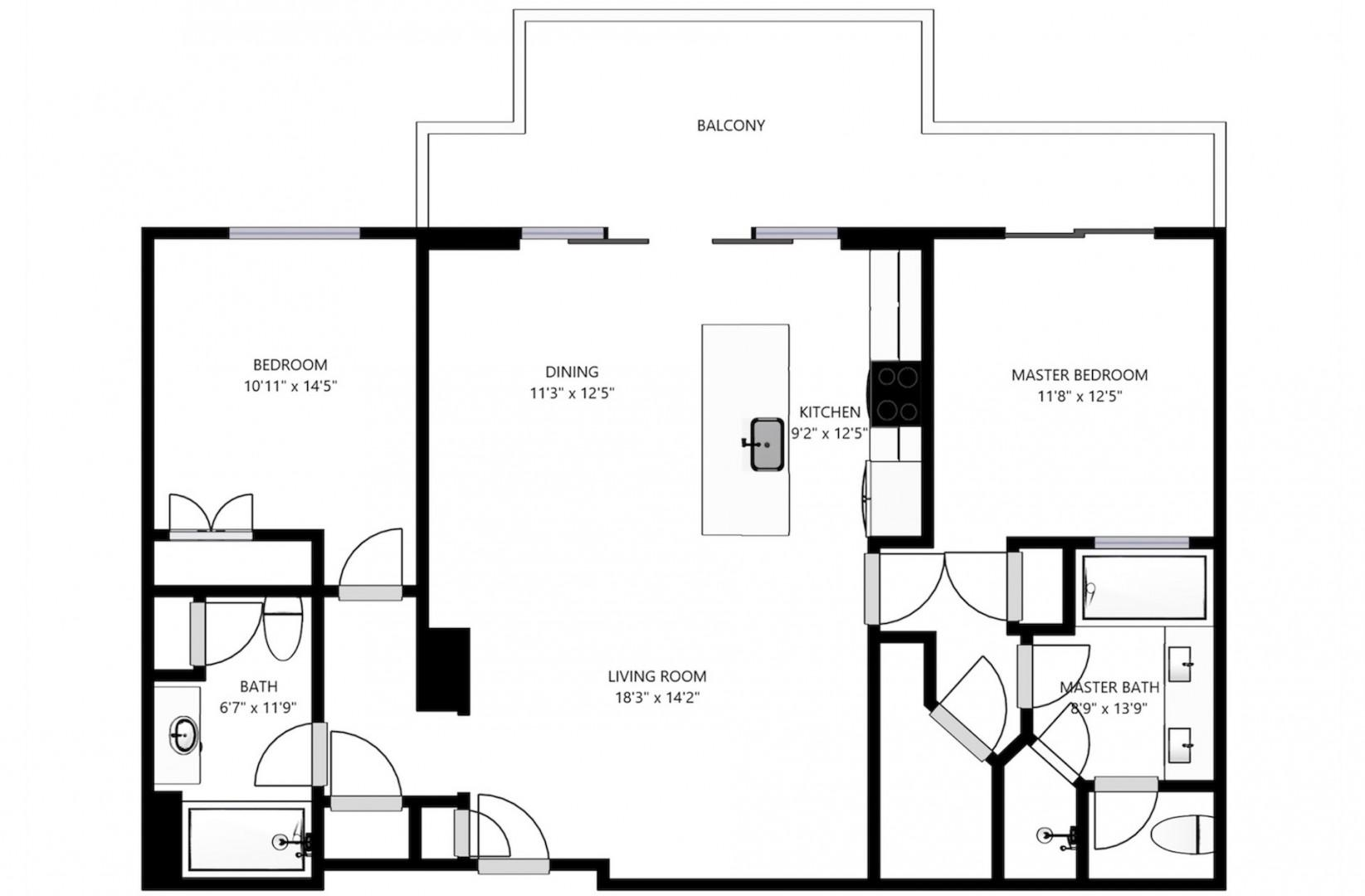 Floor plan details with all bedrooms and living areas featuring beach-facing views.