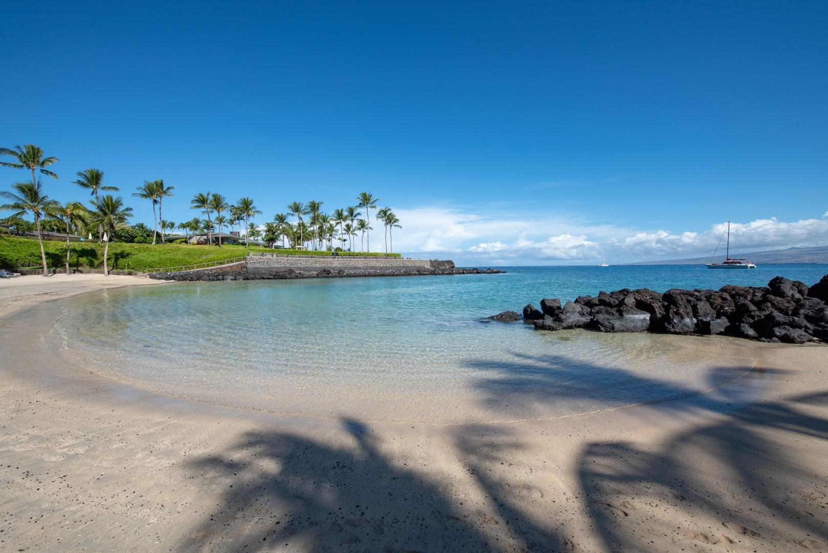 This Kohala Coast vacation home on the Big Island of Hawaii allows easy access (2 minute drive) to the white sands of magnificent Mauna Lani Beach and the exclusive Mauna Lani Beach Club