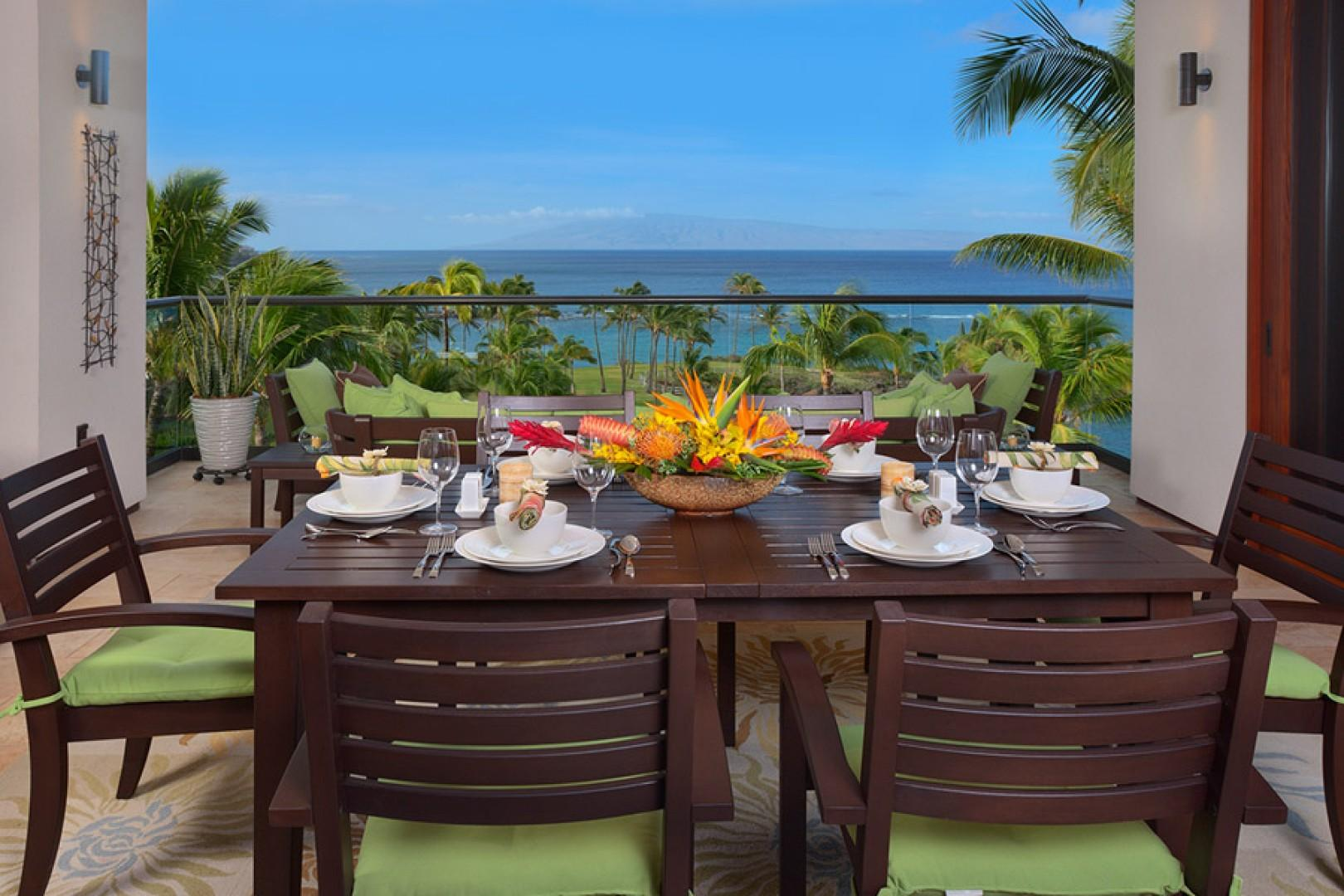 Sea Mist Villa 2403 - Ocean View Lanai Formal Dining Space and BBQ Area