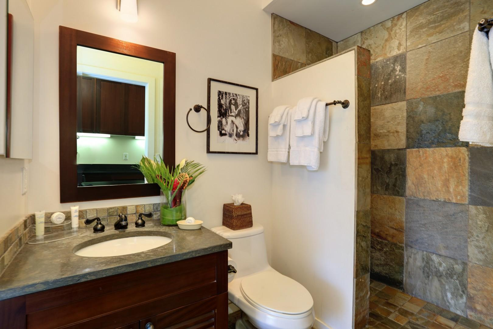Large walk-in shower surrounded by natural stone