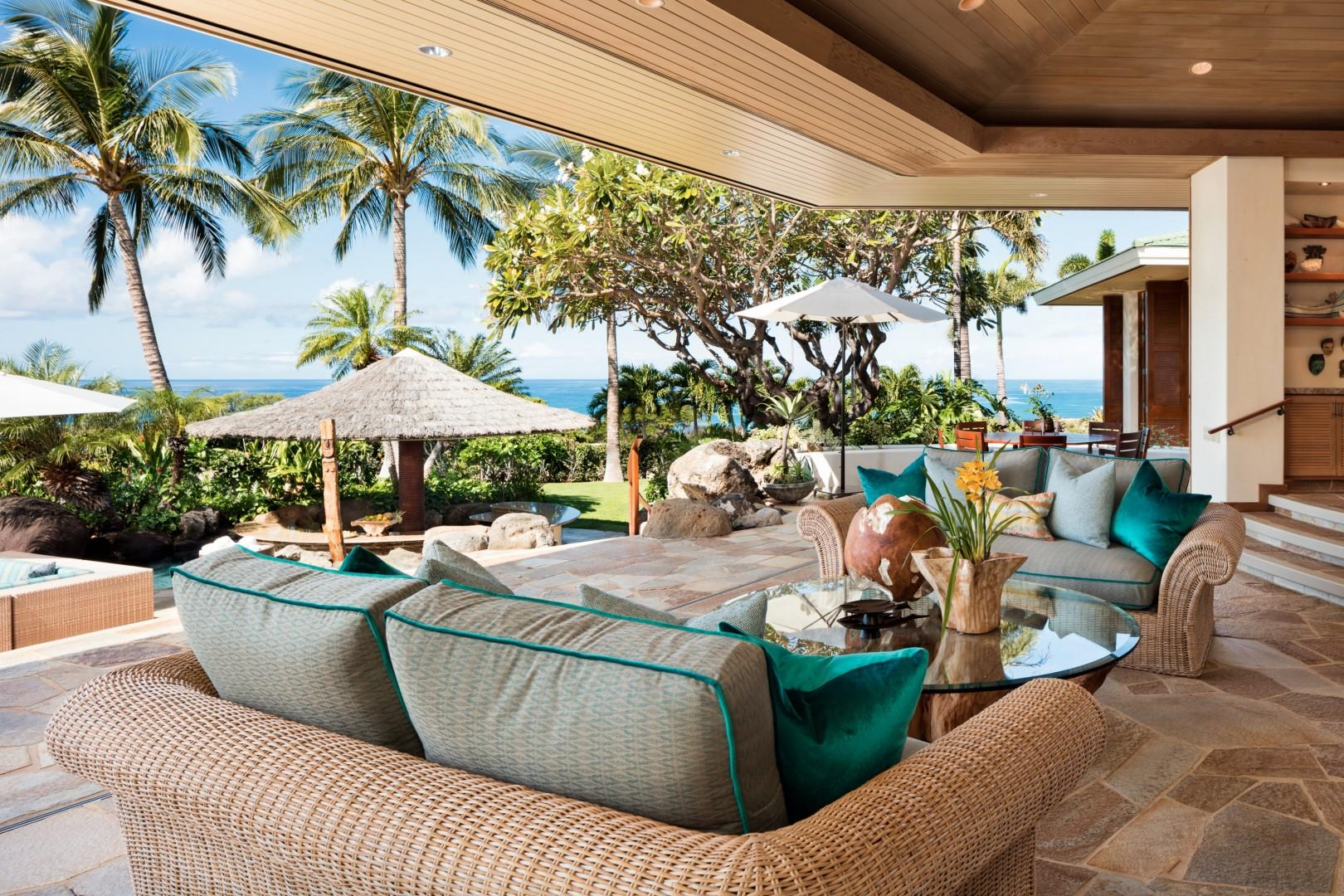 Alternate view of great room highlighting ocean view.