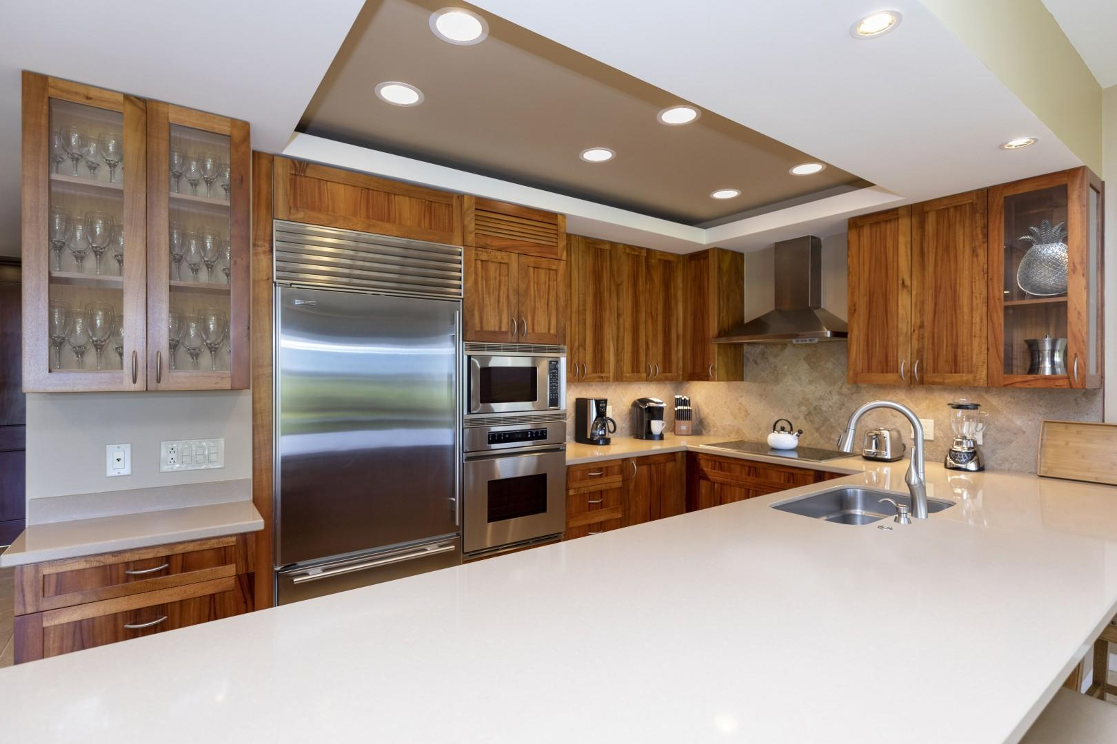 Upcale appliances and many items to utilize.