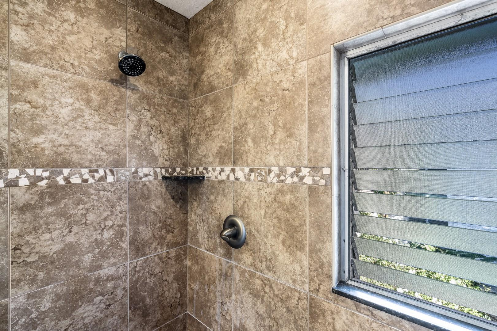 Walk in shower in the guest bathroom