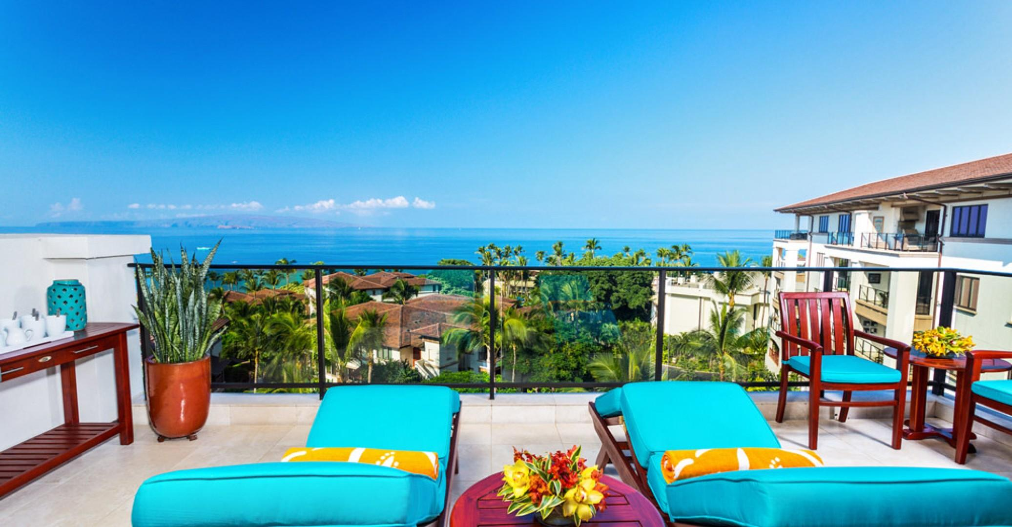 Stunning Panoramic Ocean Views From K507 Wailea Seashore Suite Located on the TOP (5th Floor) of Wailea Beach Villas