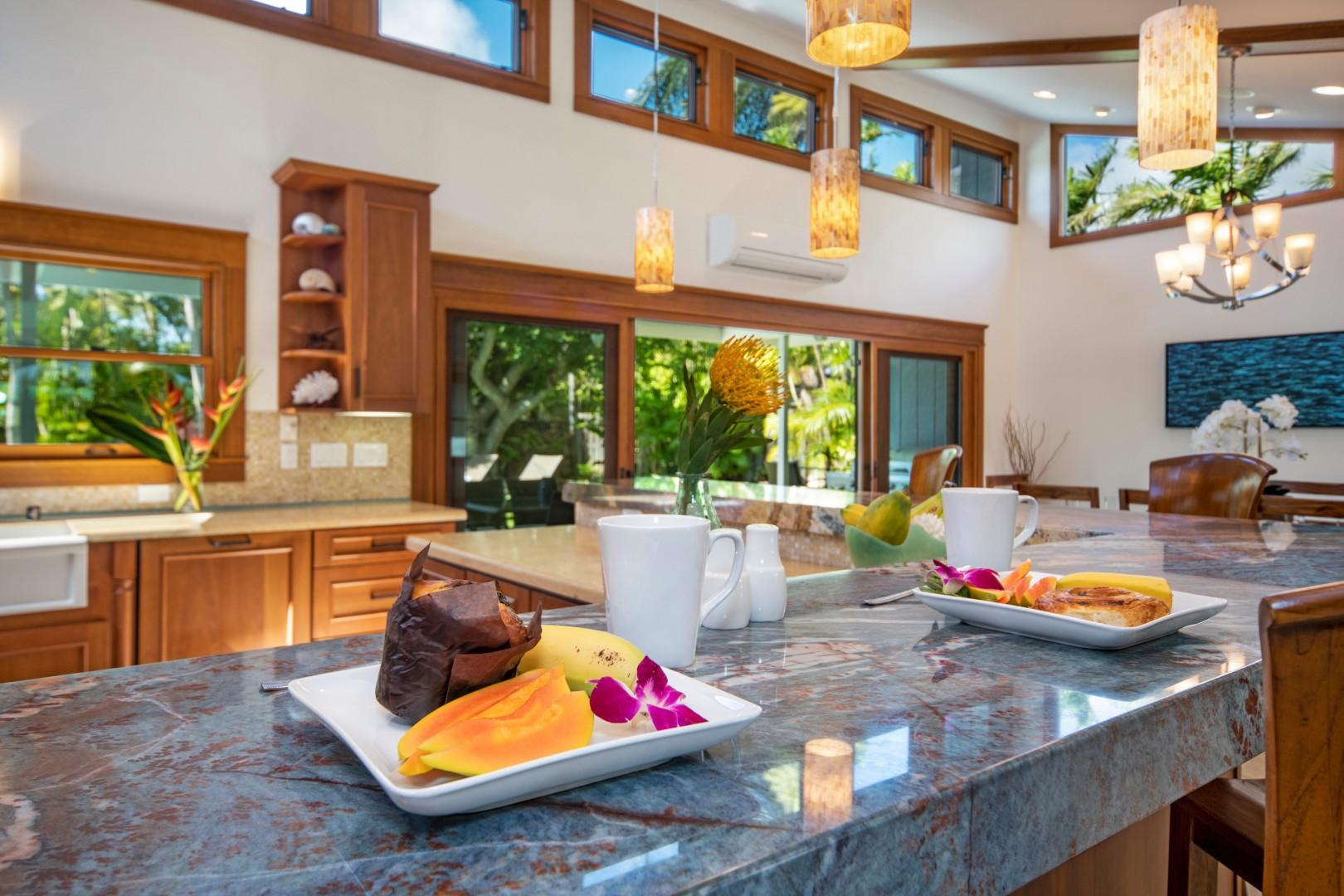 Enjoy island fresh fruits and pastries at the breakfast nook!