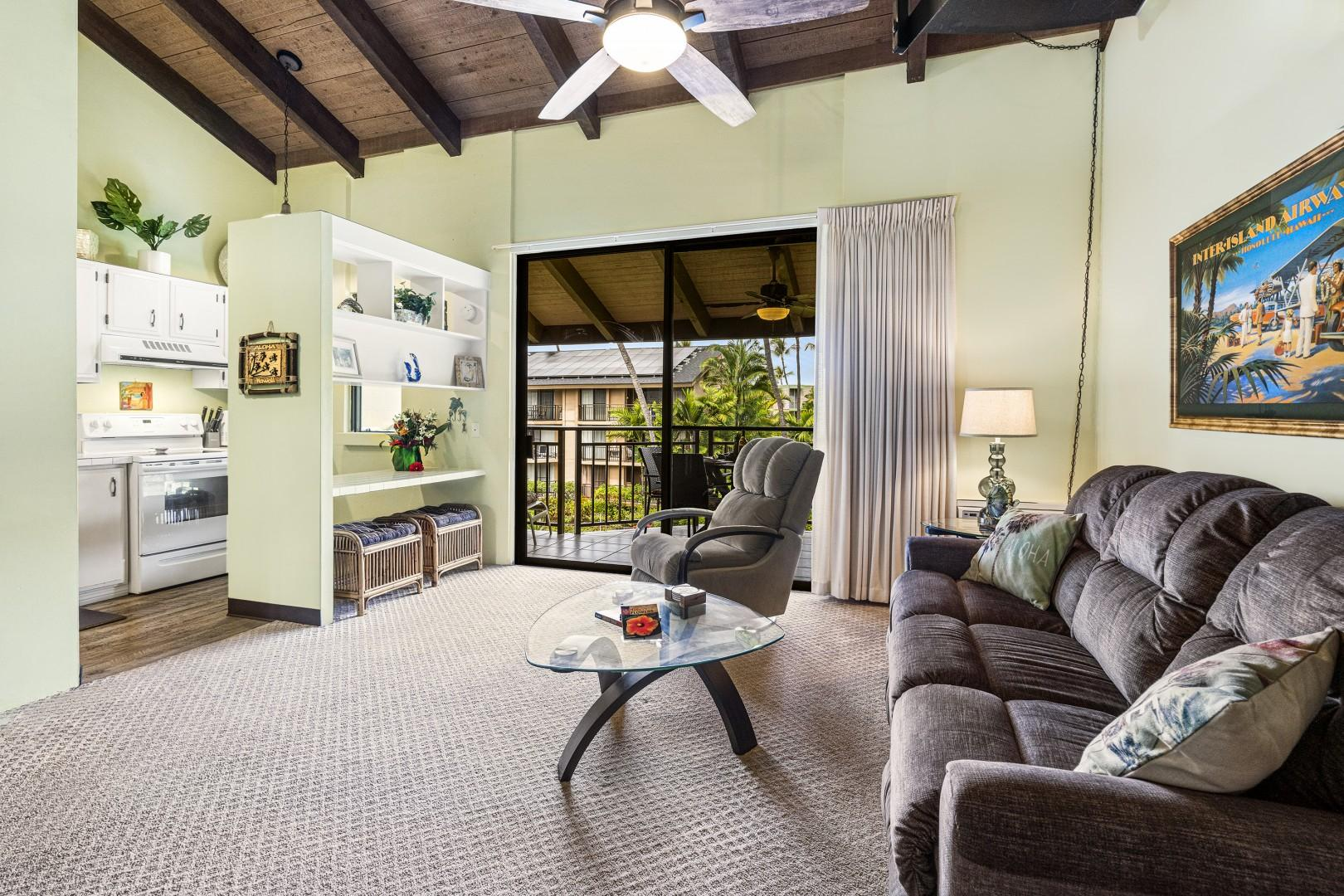 Kitchen and living room are merely steps from the Lanai