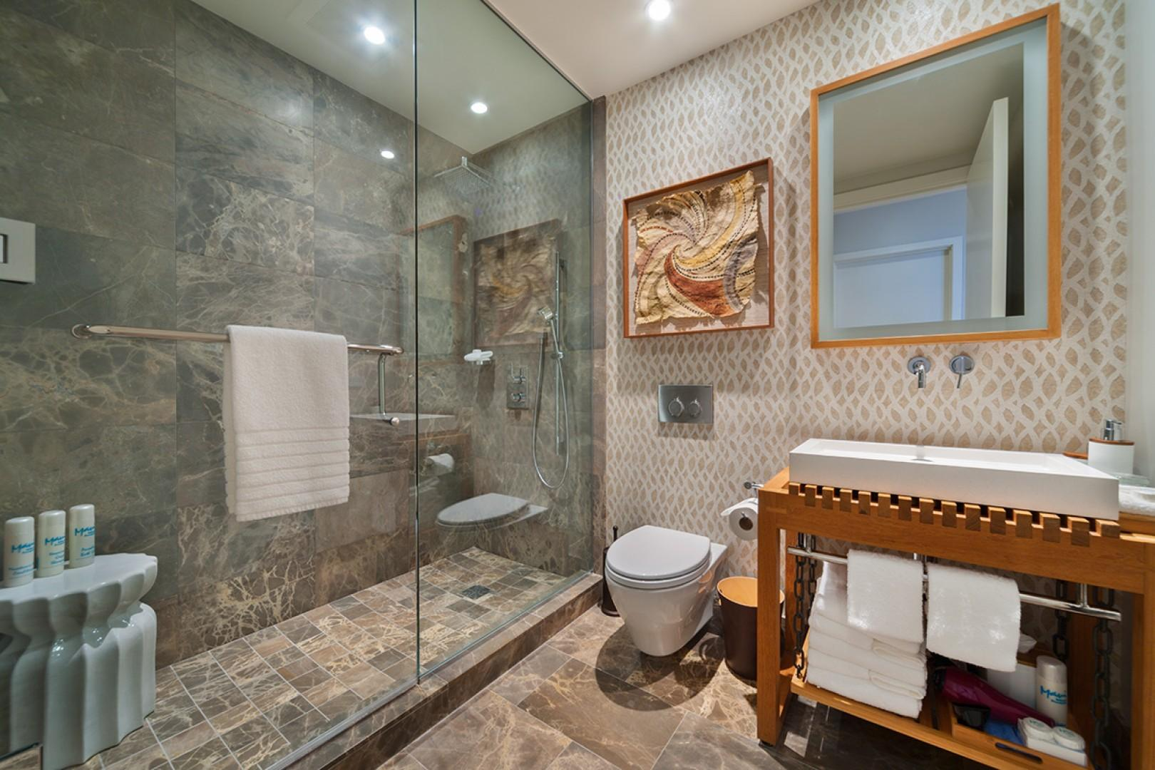 Guest Use Powder Room with Enclosed Shower