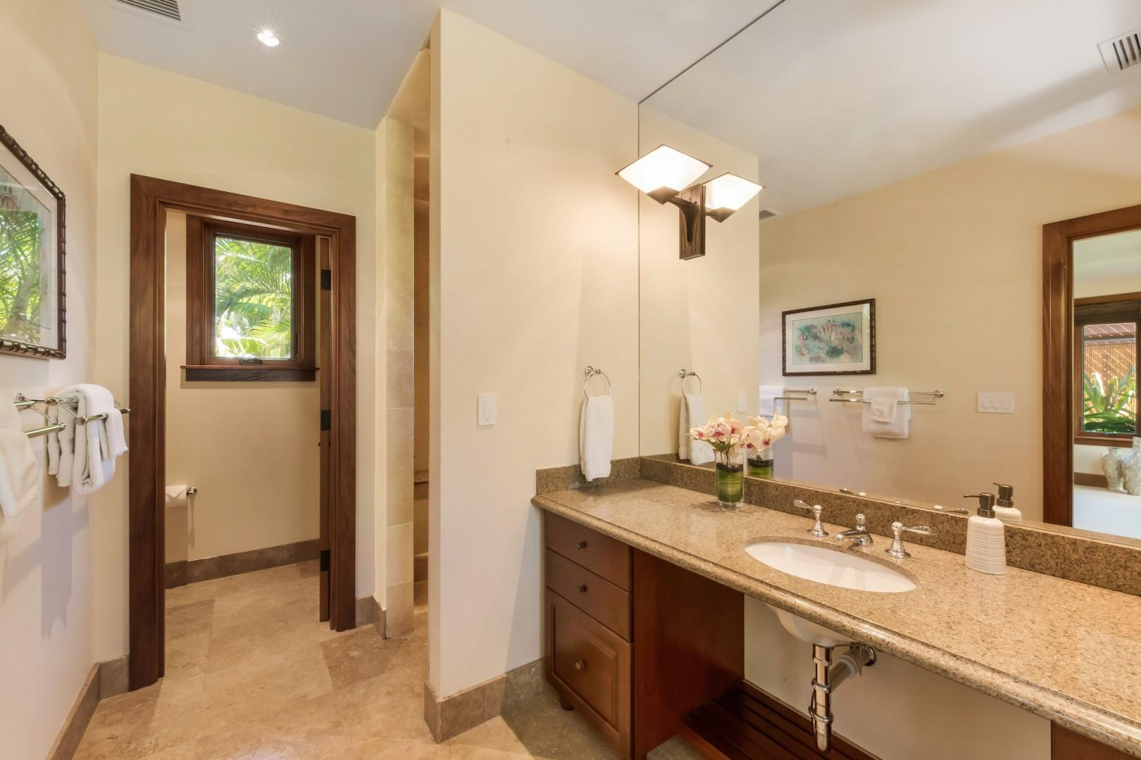 """""""Ohana"""" Guest Cottage Ensuite Bath w/ Dual Sinks, Large Stone Shower and Separate Water Closet."""