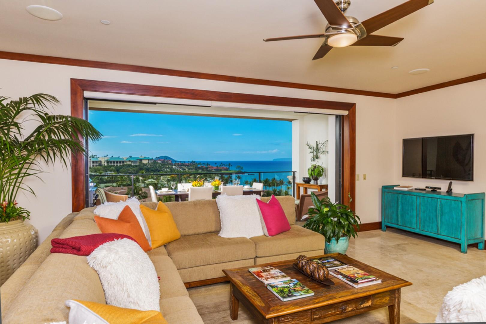 L509 Sandcastles Suite - An Elegant Great Room and Priceless View! Comfortable Seating for Eight Guests, Super-Thin Pull-Out Mounted Samsung Television with Surround Sound, iPod dock, Wireless Internet, HD DVR/PVR, HD Digital Cable Service, DVD/CD Player,