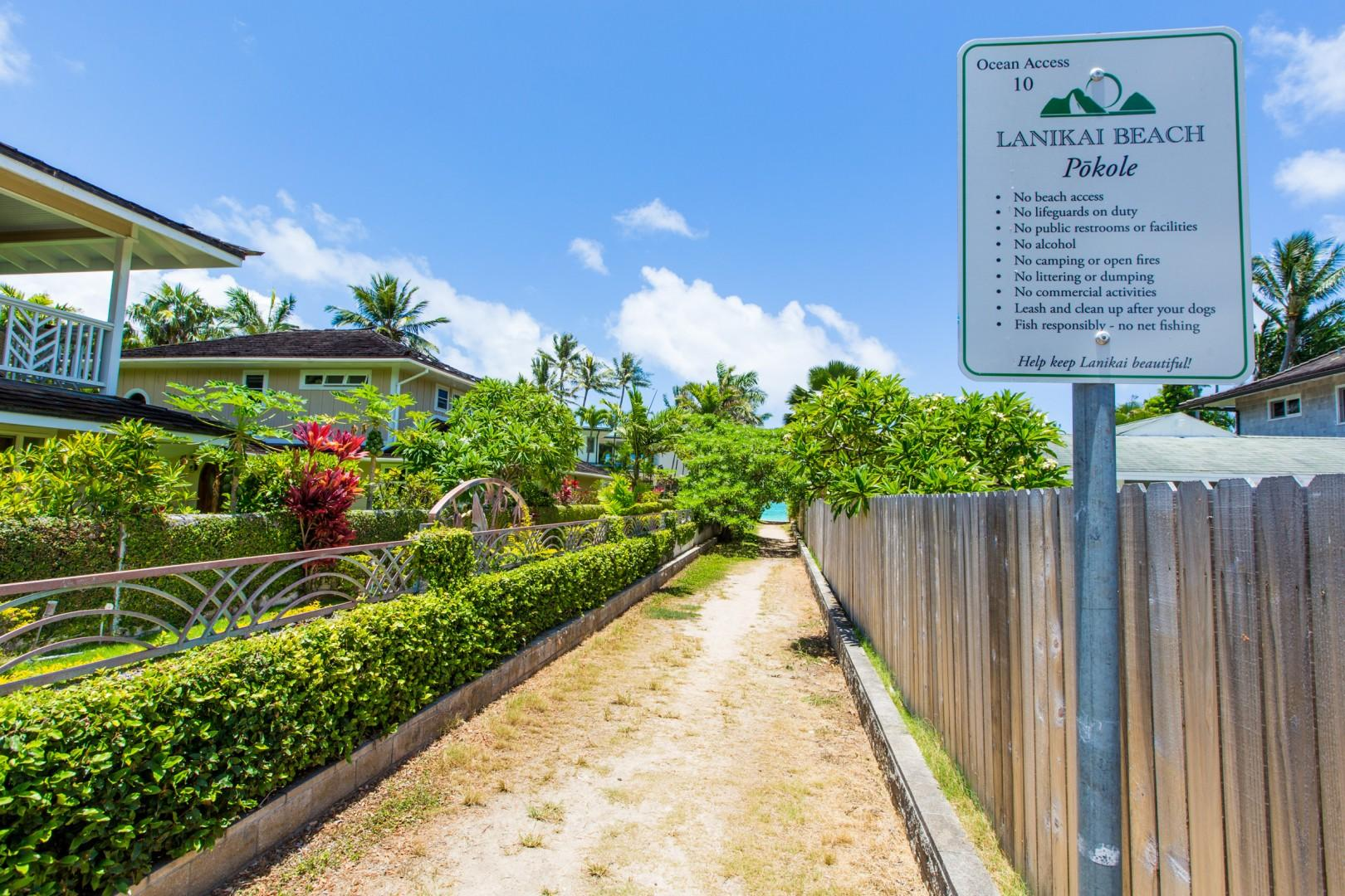 The Pokole access to Lanikai Beach is only 0.1 miles (a two-minute walk) from the house!