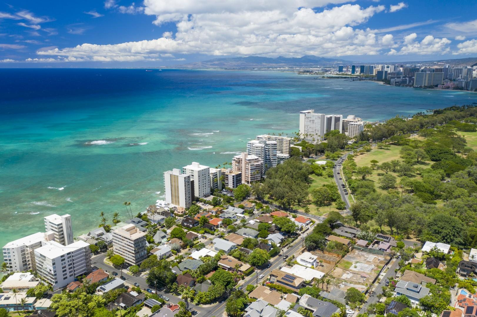 Aerial view of Diamond Head neighborhood looking West.