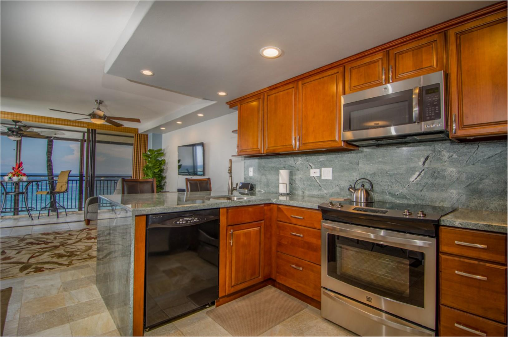 Beautiful open kitchen with new appliances.