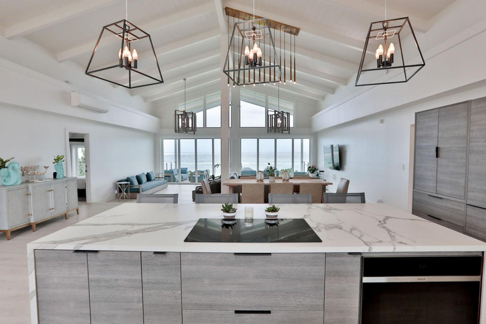 Kitchen views with an open floor plan
