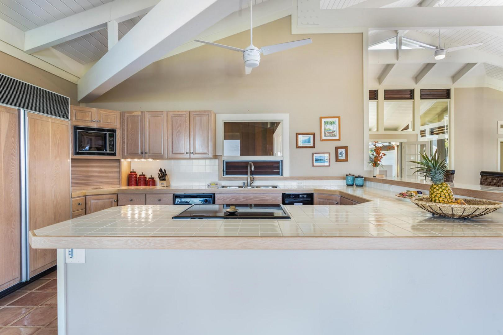 The large kitchen has tons of counter space.
