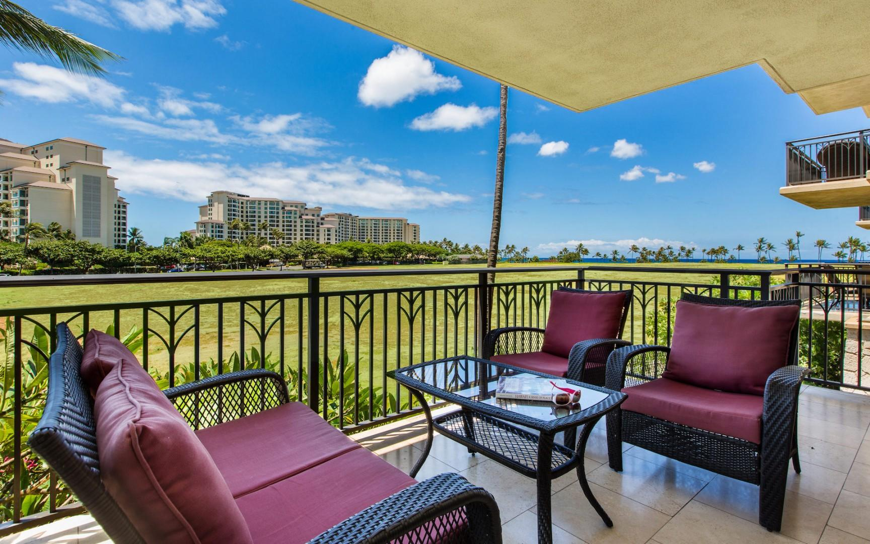 Enjoy a sunny breakfast or relaxing afternoon on the spacious lanai