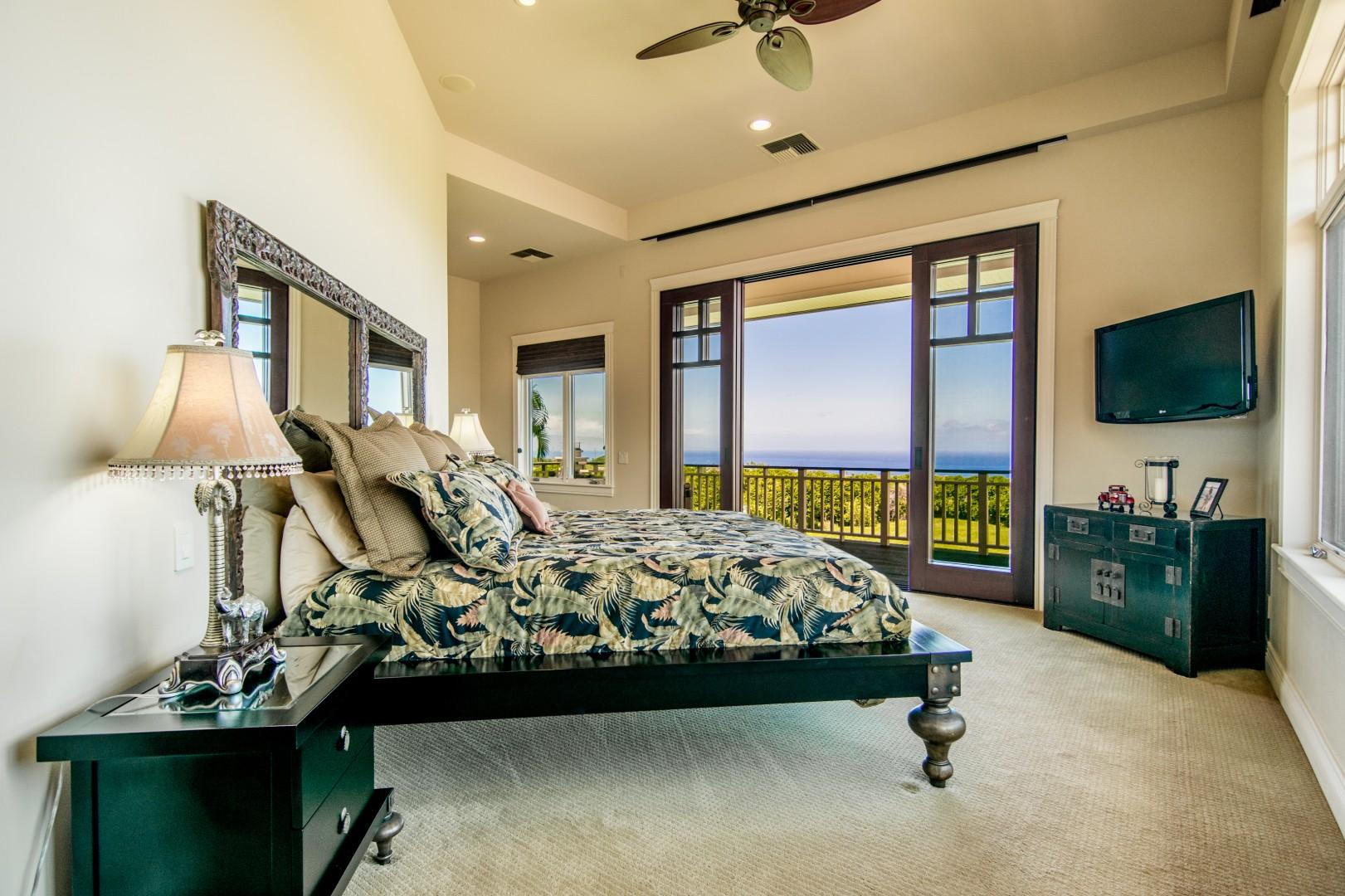 Master Bedroom with Full Lanai Access and Full Doors to Enjoy the Maui Ocean Trade Winds With Custom Decor and Furnishings