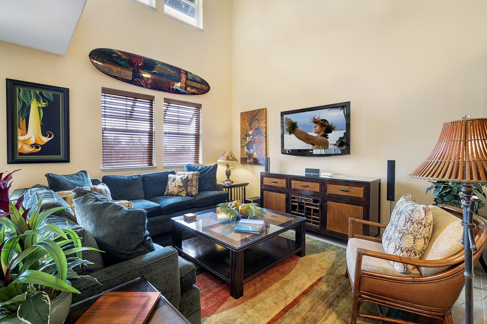 Beautifully appointed living room with Central A/C