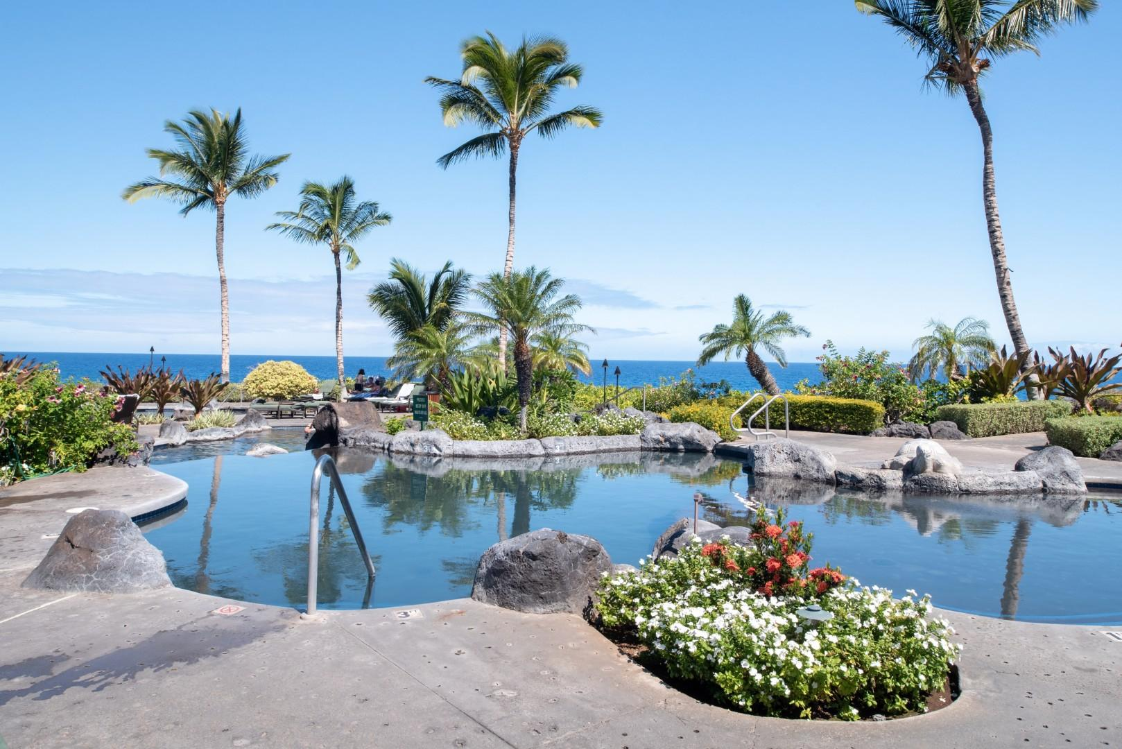 Alternative view of the beautiful lagoon-style pool and ocean view