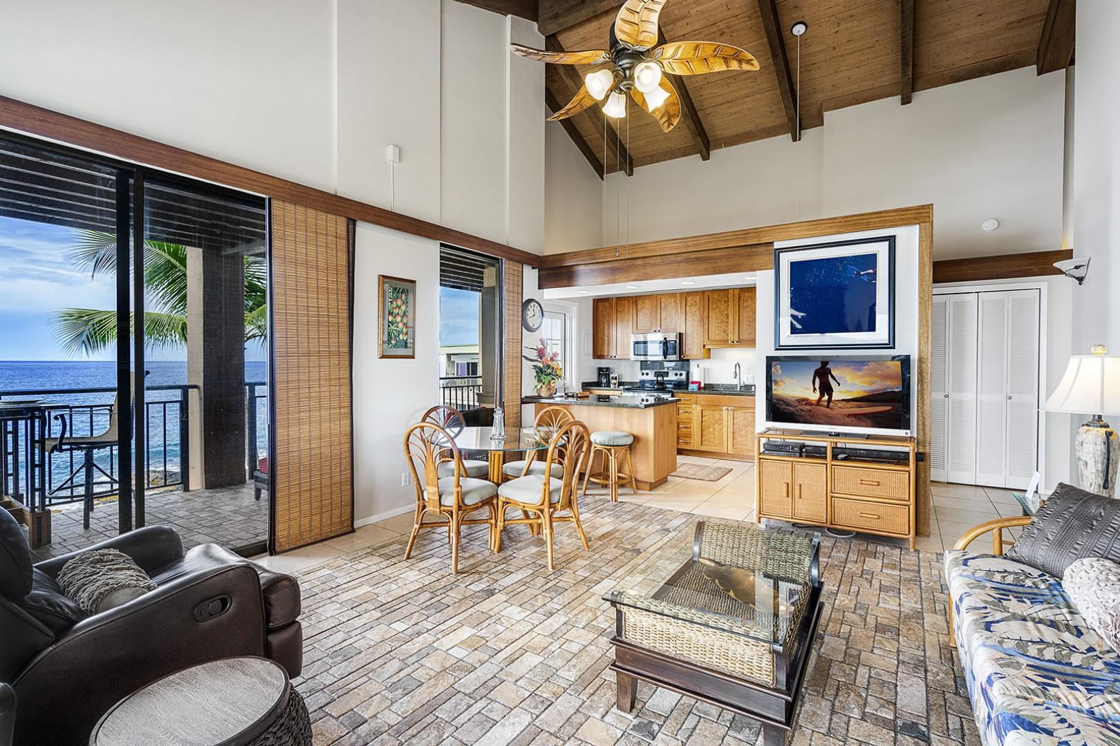 Open floor plan with vaulted ceiling allows the Ocean breeze to move freely