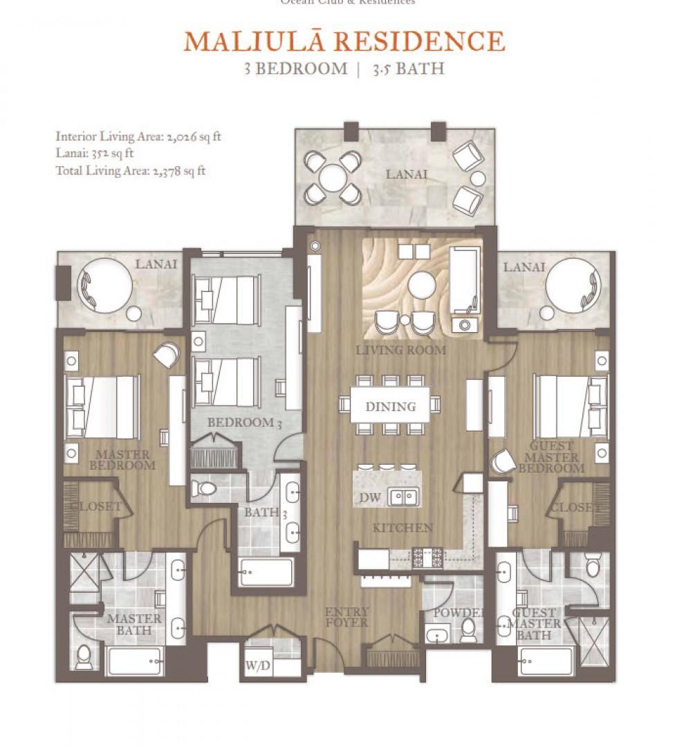 The Maliula Three-Bedroom Premiere floor plan.
