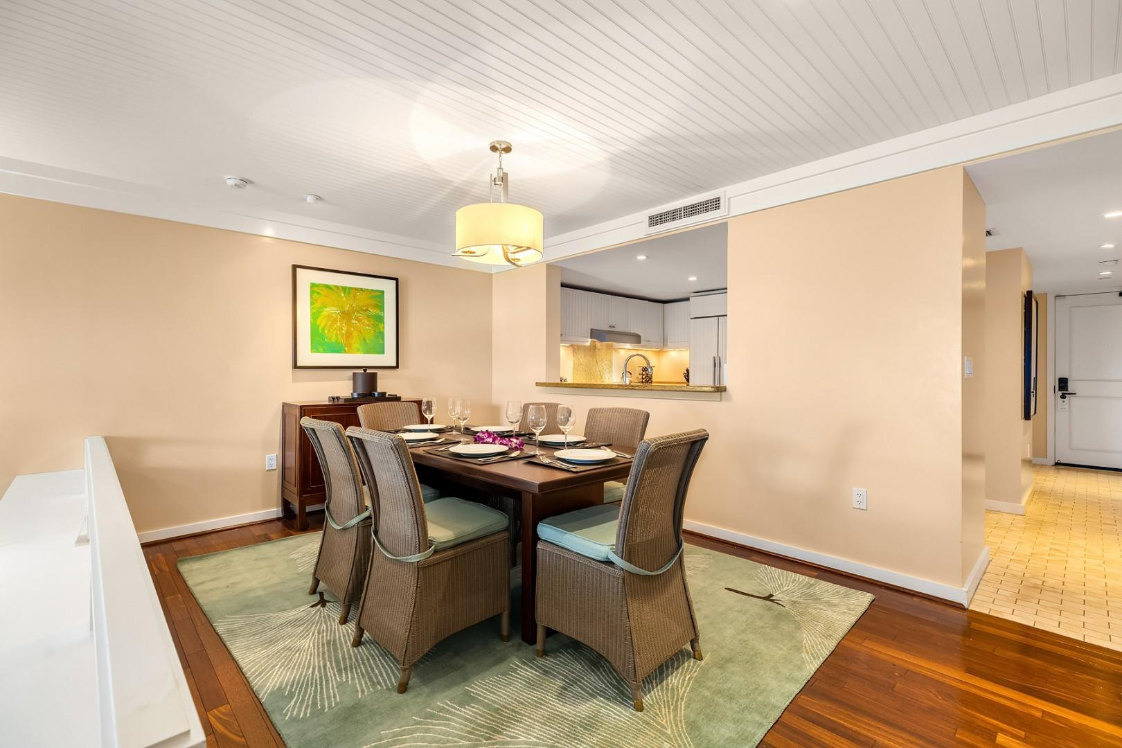 Large dining area just off the kitchen, with pass through bar.   New furnishings and seating for 6.