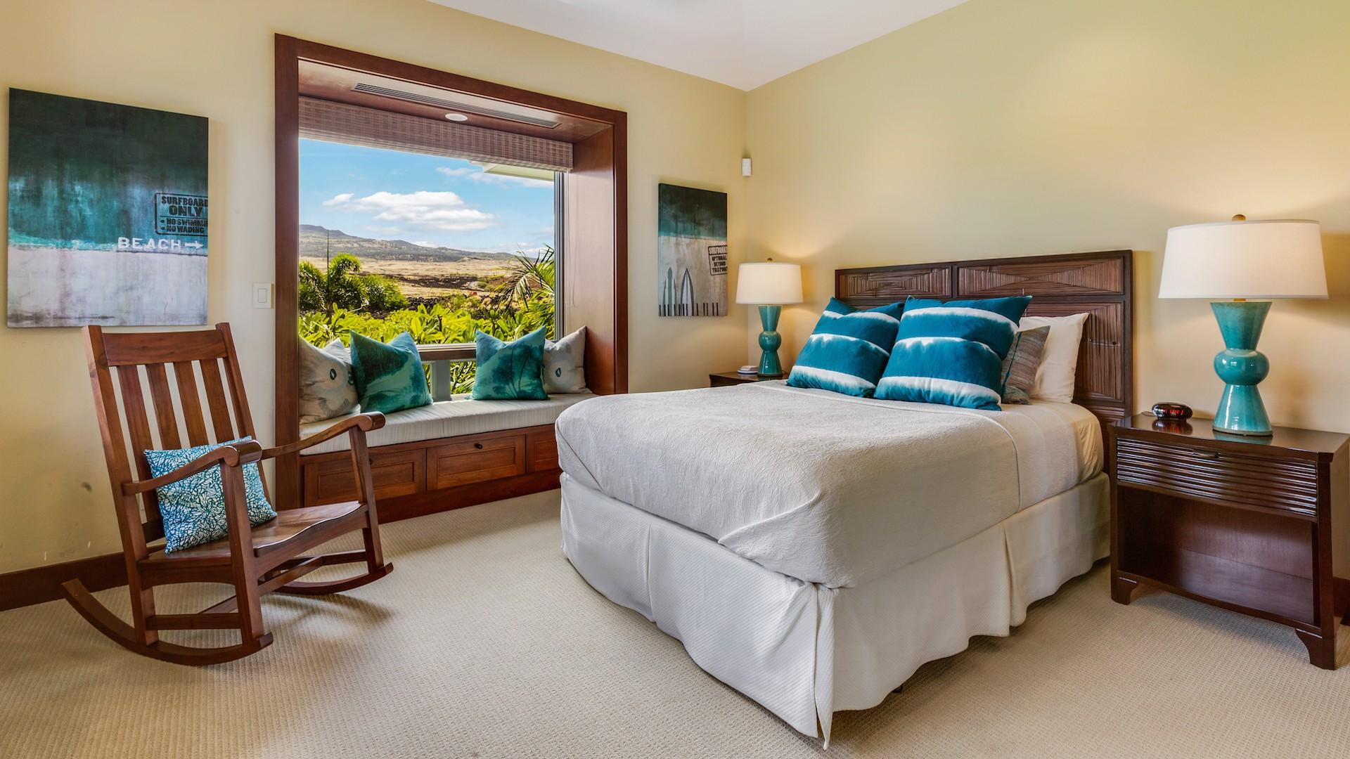 Second bedroom, with en suite bathroom and views of Mount Hualalai.