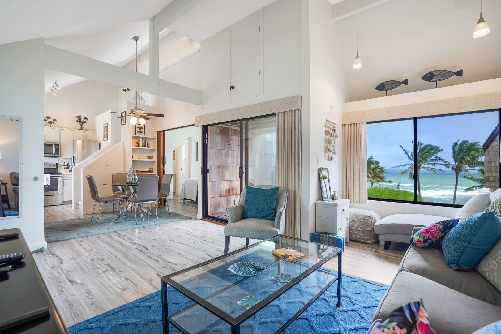 Spacious living area, looking out at the ocean