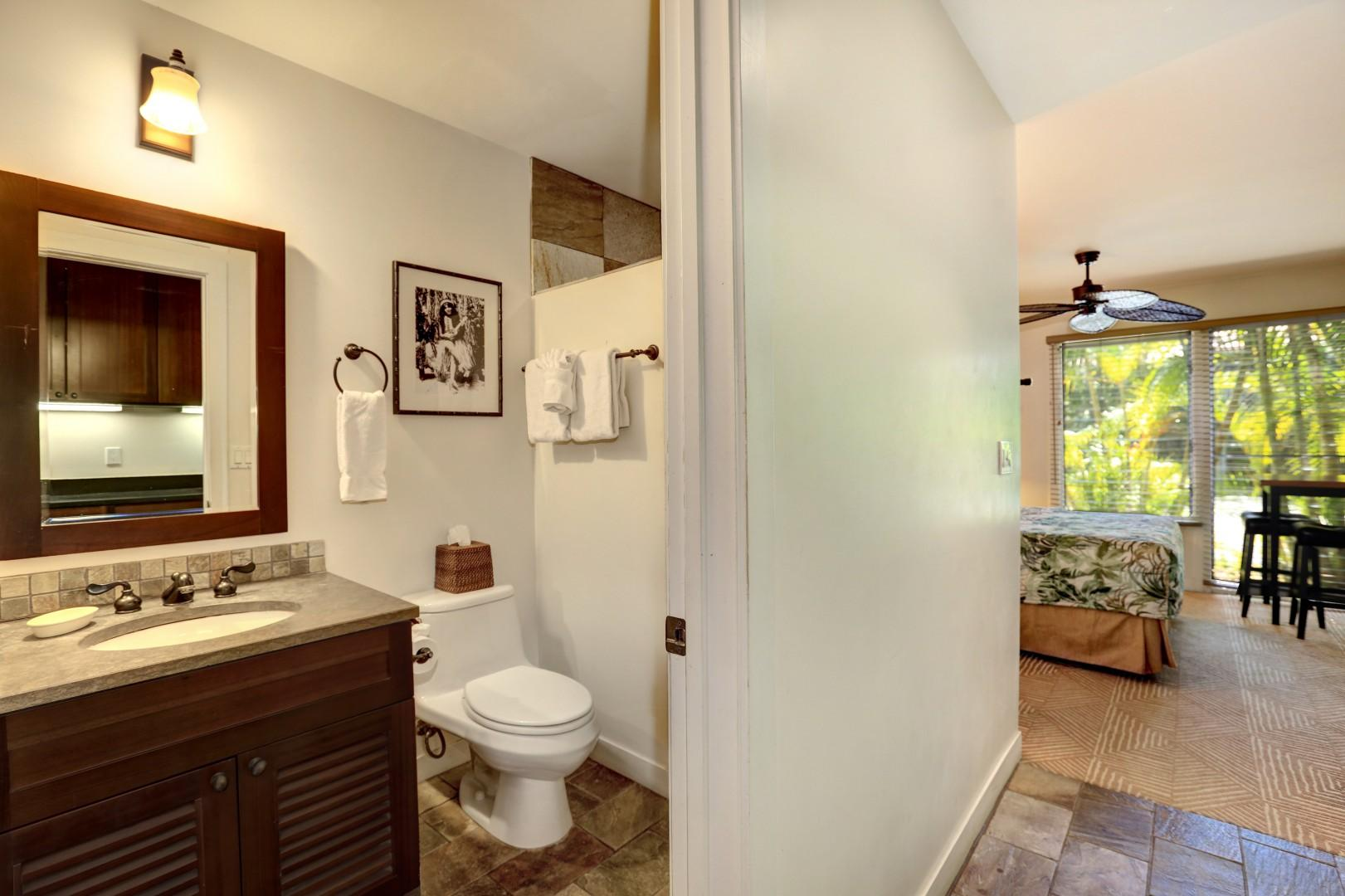 A view into the full bathroom.