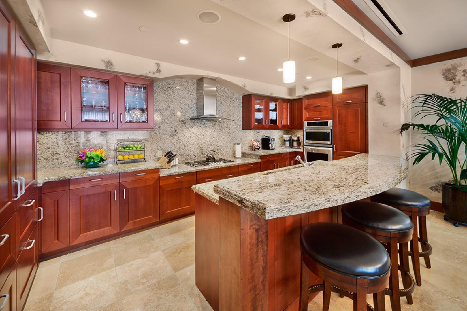 The A201 Kitchen with a full assortment of Cooking, Dining and Serving Supplies including an Espresso Maker and Dual Coffee Makers