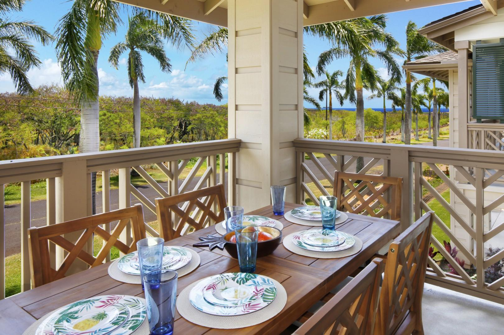 Private lanai with distant ocean and mountain views