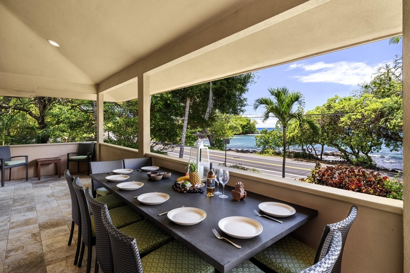 Outdoor dining for 8 with picturesque views!