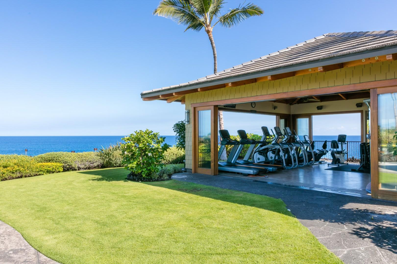 Working out is a pleasure at the oceanfront workout facility. Enjoy watching the whales as you get fit.