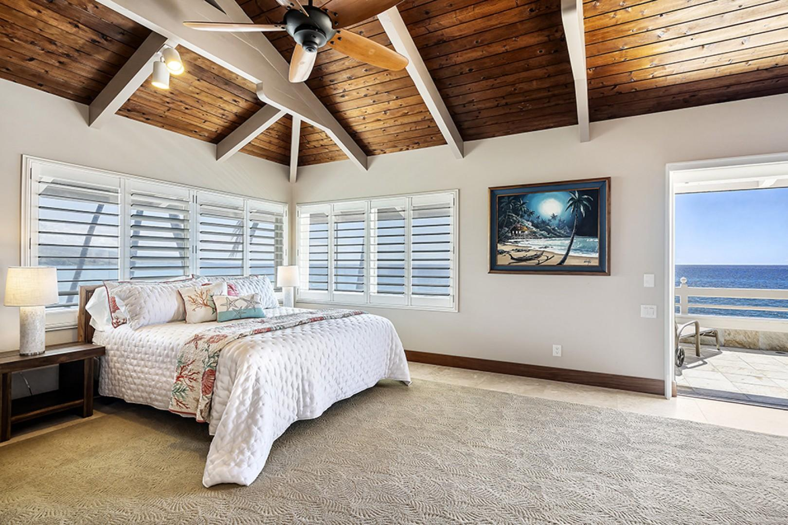 Grand Master bedroom with King sized bed, A/C, vaulted ceilings and private Lanai