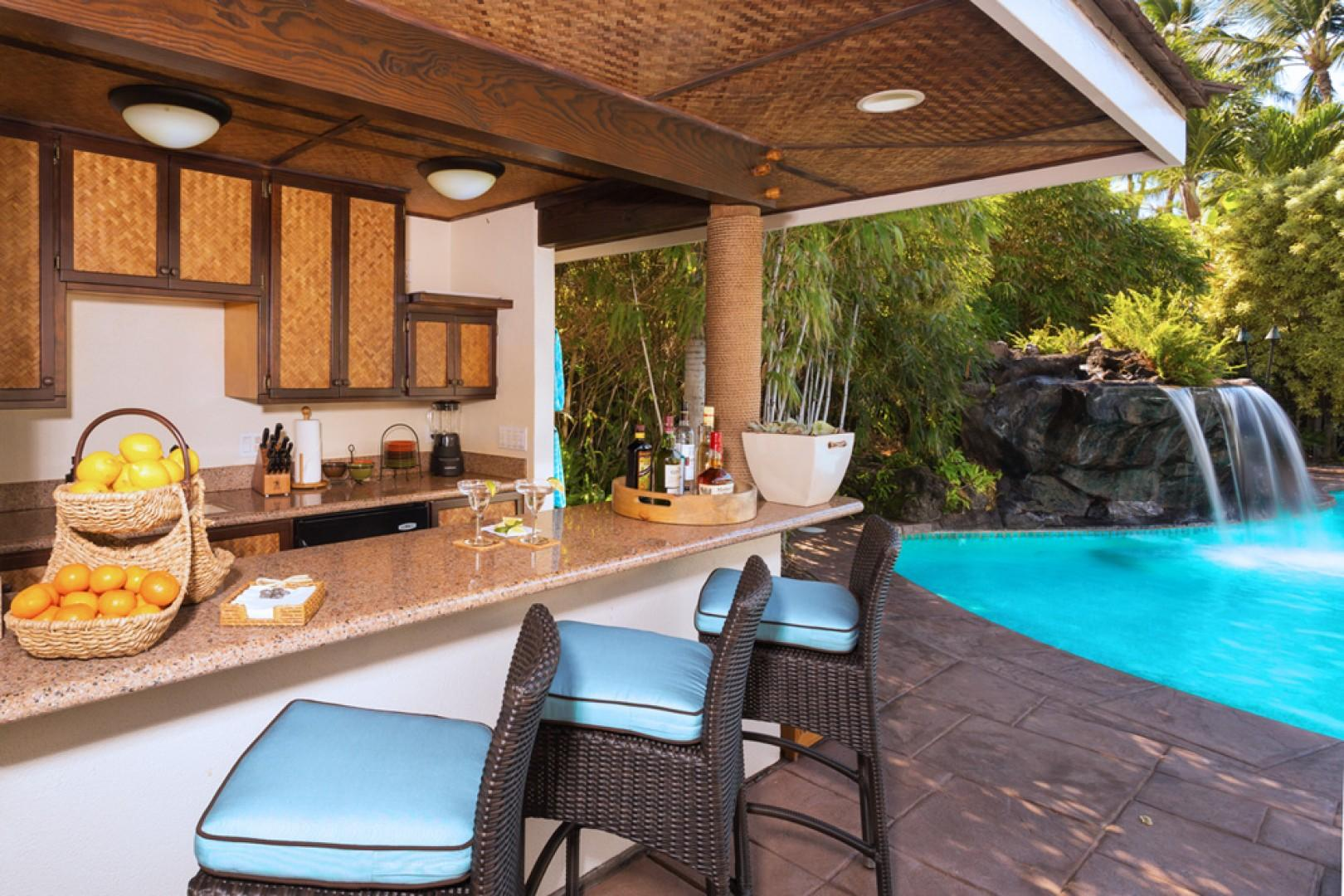 Well Equipped Poolside Cabana Bar with BBQ, Half Bath and Outdoor Shower at Mango Surf