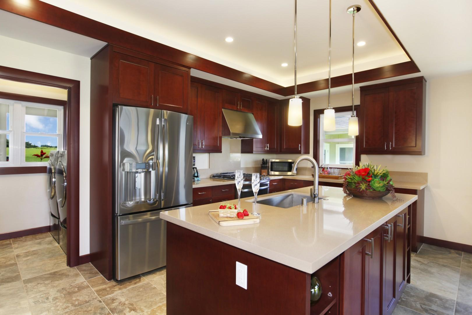 Well equipped brand new kitchen with high-end appliances and gas range.