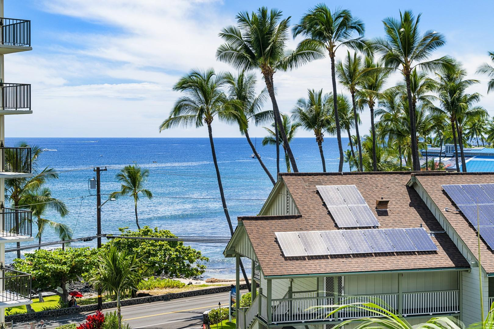 Zoomed photo of the ocean view from the spacious lanai!