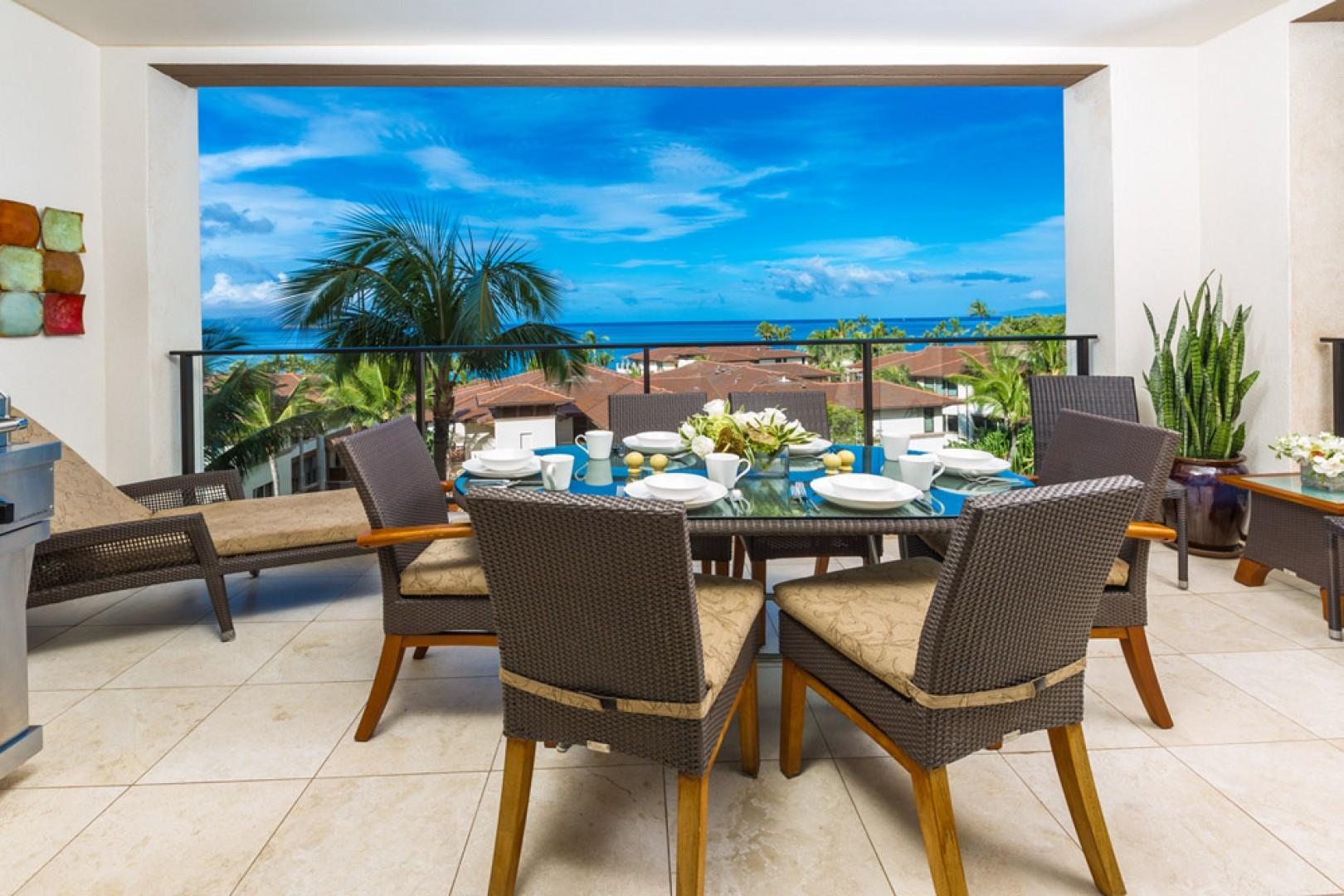 Covered ocean-view terrace with spacious outdoor lounging and dining area, plus Viking gas barbecue grill.