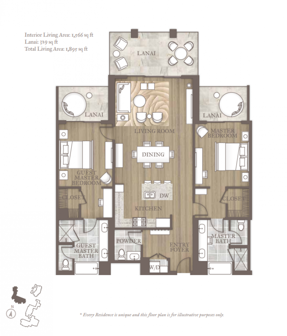 Floor plan for the two-bedroom Maliula Superior.