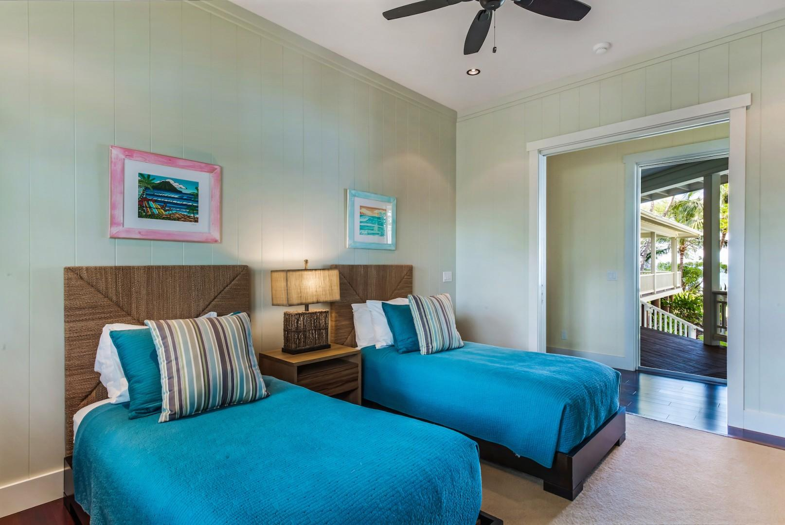 Bedroom 3 w/ Two Twin Beds and Ocean View from Double Pocket Doors to Hallway.