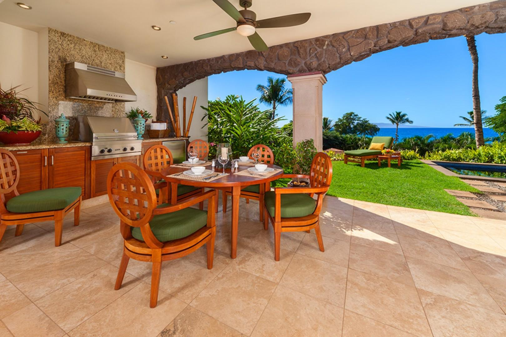 True Indoor/Outdoor Living with Ocean Views, Covered Veranda, Plunge Pool, Lawn and Garden, Viking Gas Grill, Bar Fridge, Patio Dining - Your Own Private Paradise at Coco Palms Pool Villa D101