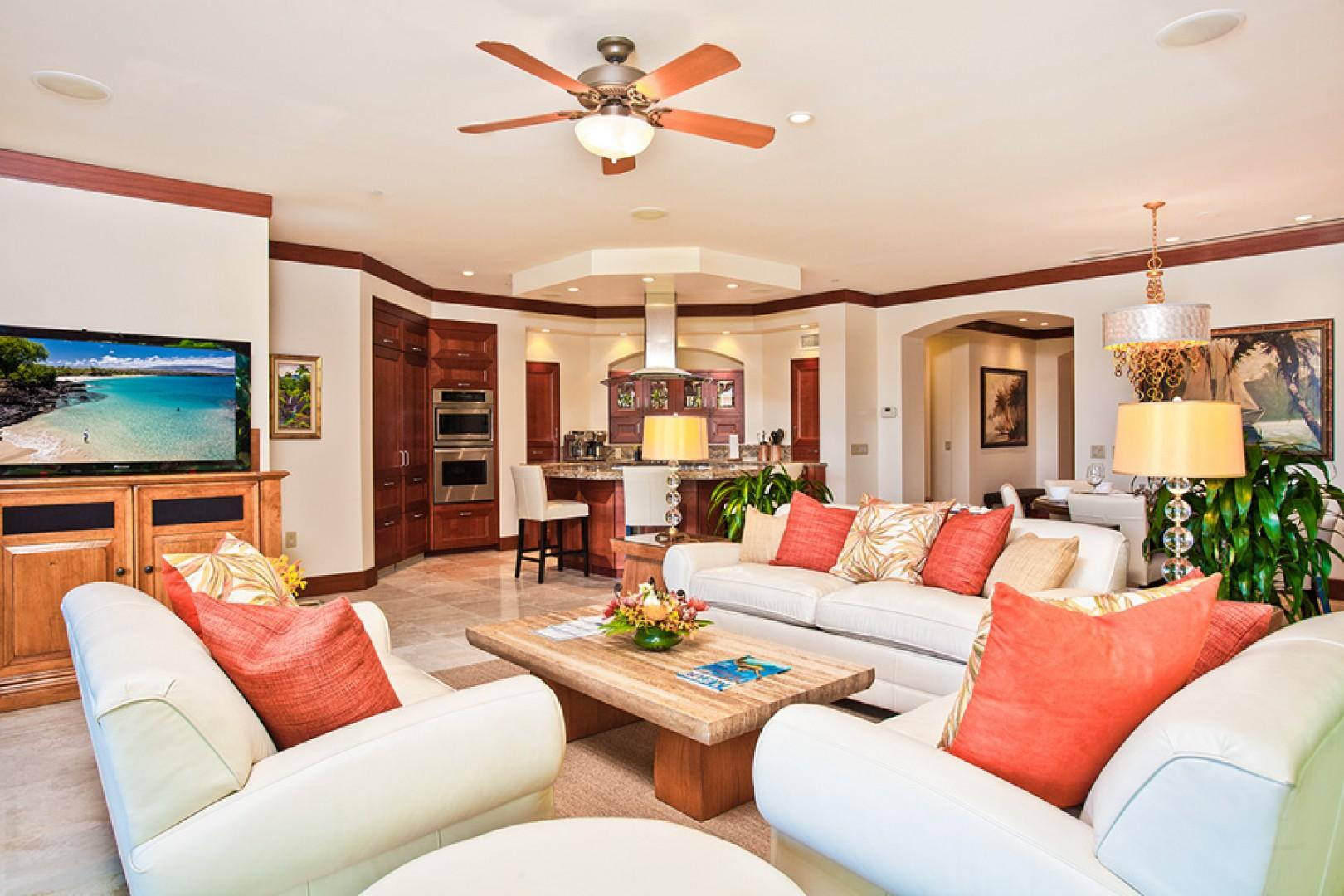Elegant great room with ample seating.