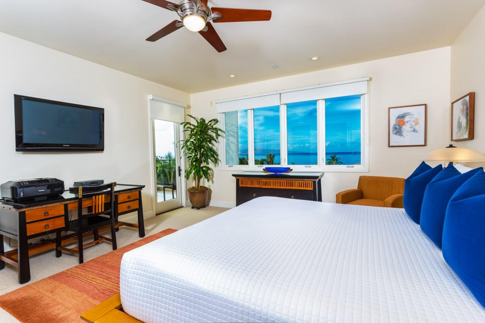 Master bedroom suite with large flat-panel HD cable TV, DVD, king bed, desk, and direct access to the ocean-view terrace.