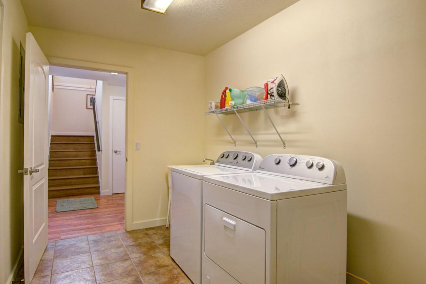 There is a laundry room downstairs for your use