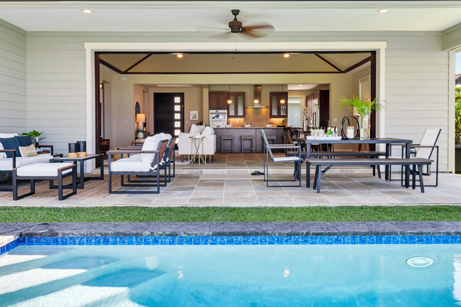 Large pocket doors open to encompass the Lanai as a part of the living area