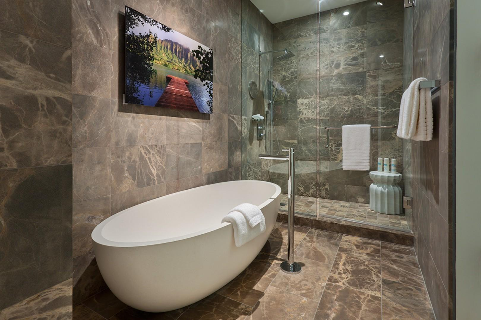 King Master Bedroom Bathroom with Free-Standing Deep Soak Tub